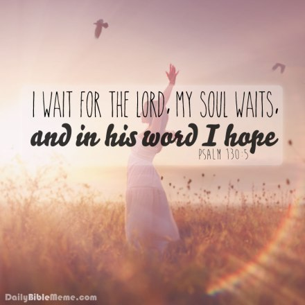 """Psalm 130:5  """"I wait for the Lord, my soul waits, and in his word I hope;""""  I  DailyBibleMeme.com"""
